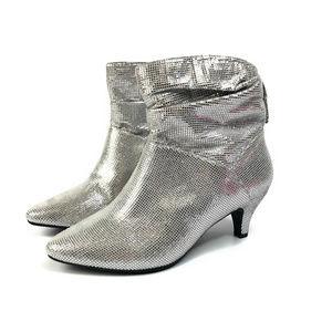 Comfortview Kourt Metallic Silver Ankle Booties 11